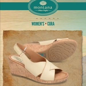 Montana Cora leather beige slingback wedge sandal